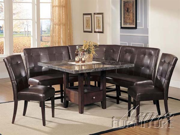 Danville 6 Piece Marble Top Storage Dining Table Corner Unit In Espresso  Finish By Acme   00280