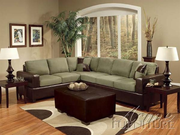 Alongo sage easy rider brown bycast sectional sofa set by acme 0100 for Sage couch living room ideas