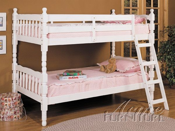 Twin Twin Bunk Bed In White Finish By Acme 02298