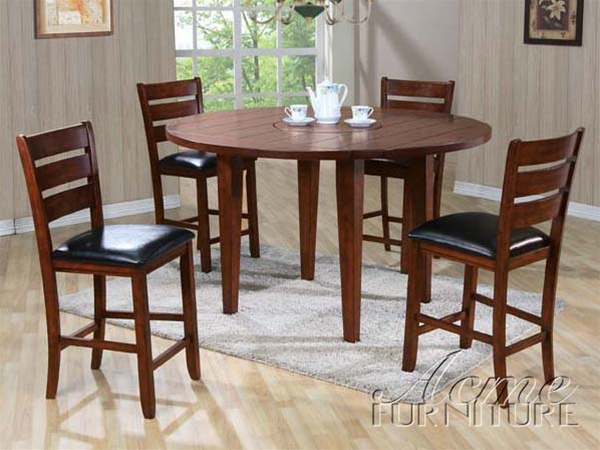 urbana 5 piece drop leaf round top counter height dining set in cherry