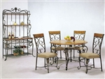 Metal Craft 5 Piece Wood & Metal Table Set by Acme - 07720