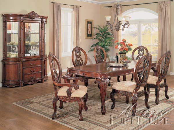 Versailles Cherry Finish 7 Piece Dining Table Set By Acme