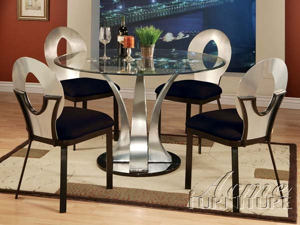 Cady 5 Piece Glass & Metal Dining Table Set by Acme - 10095