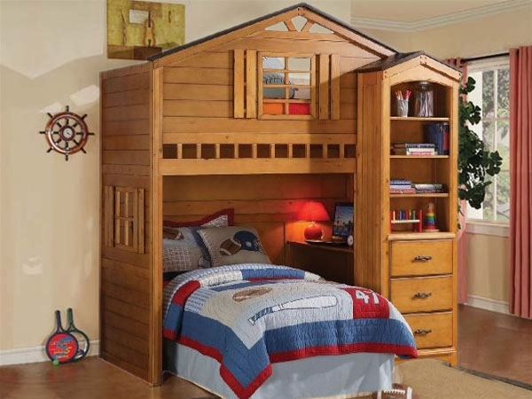 Montana Loft Bed In Rustic Oak Finish By Acme 10160