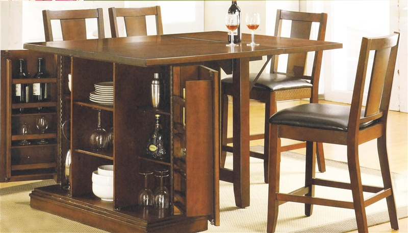 Kitchen Island Dark Oak Finish Counter Height 5 Piece Table Set By Acme 10232
