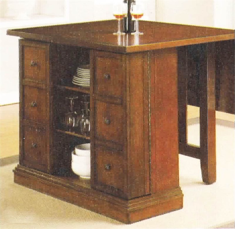 Kitchen Island Taller Than Counters: Kitchen Island Dark Oak Finish Counter Height 5 Piece