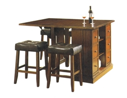 Kitchen island dark oak finish counter height 3 piece for Counter island table