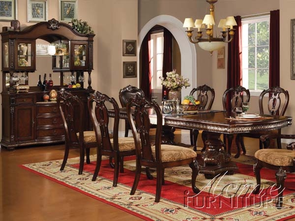 Anondale brown cherry buffet and hutch by acme 10299 for Comedores homecenter