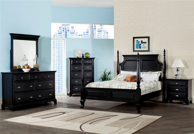 Canterbury Poster Bed 6 Piece Bedroom Set In Black Finish