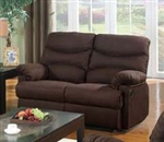 Arcadia Chocolate Microfiber Motion Loveseat by Acme - 10631