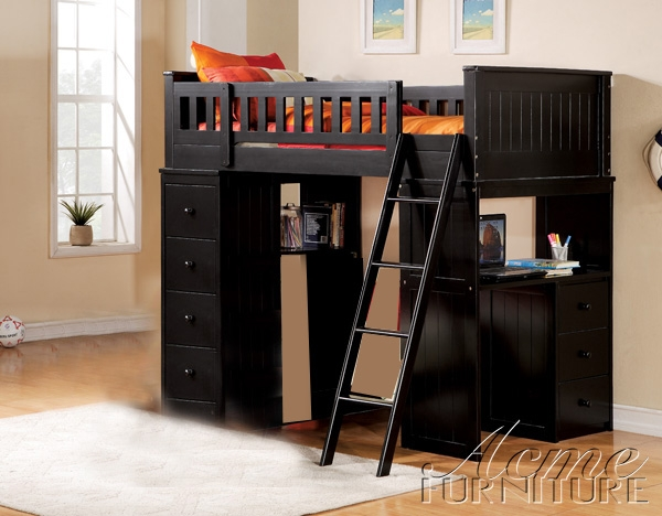 Willoughby Black Finish Twin Loft Bed By Acme 10980