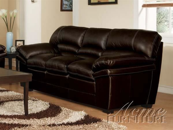 Belgrade Dark Brown Top Gain Leather Match Sofa By Acme