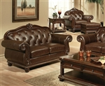Anondale Brown Leather Loveseat by Acme - 15031