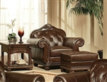 Anondale Brown Leather Chair by Acme - 15032