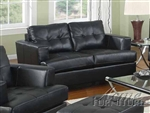 Diamond Black Leather Loveseat by Acme - 15091