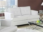 Diamond White Leather Loveseat by Acme - 15096