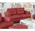 Diamond Red Leather Loveseat by Acme - 15101