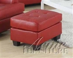 Diamond Red Leather Ottoman by Acme - 15103