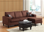Robyn Reversible Sectional with Ottoman in Chocolate Microfiber by Acme - 15900