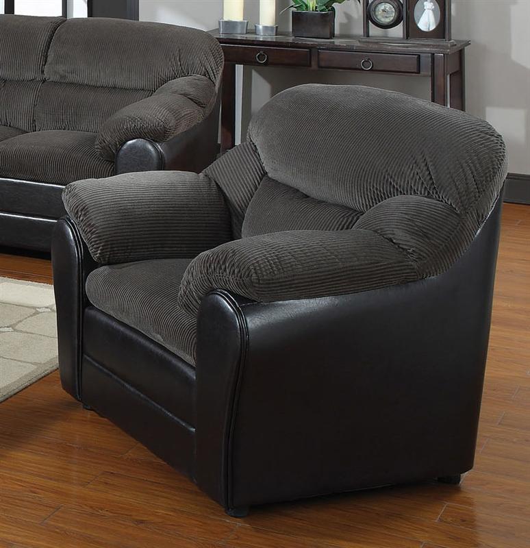 Connell dark grey corduroy espresso bycast sofa by acme for Grey corduroy sofa