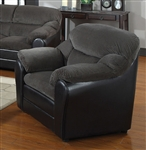 Connell Dark Grey Corduroy & Espresso Bycast Chair by Acme - 15957