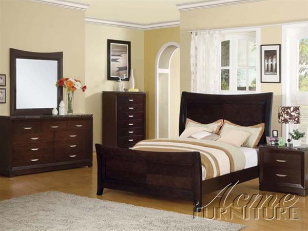 6 Piece Black Marble Top Espresso Finish Bedroom Set by Acme - 17000