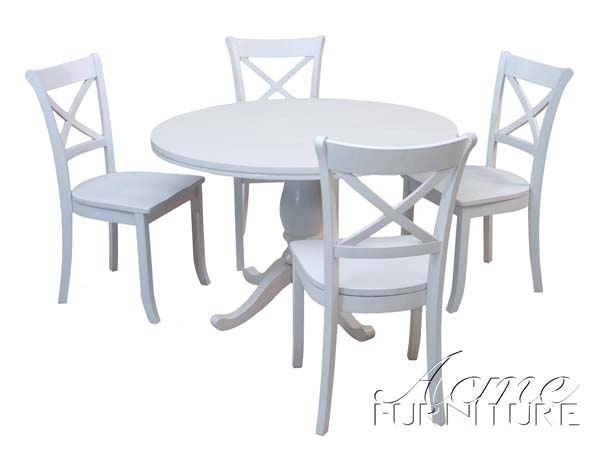 Douglas 5 piece casual white finish dining table set by for White casual dining table