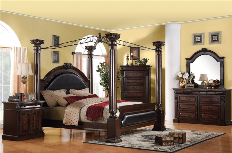 Roman Empire Canopy 6 Piece Bedroom Set In Dark Cherry Two