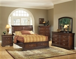 Hennessy Storage Bed 6 Piece Bedroom Set in Brown Cherry Finish by Acme - 19450