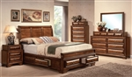 Konane Storage Bed 6 Piece Bedroom Set in Brown Cherry Finish by Acme - 20450