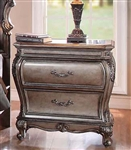 Chantelle Granite Top Nightstand in Antique Silver Finish by Acme - 20543