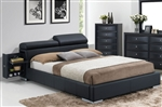 Manjot Black Upholstered Storage Bed by Acme - 20750Q