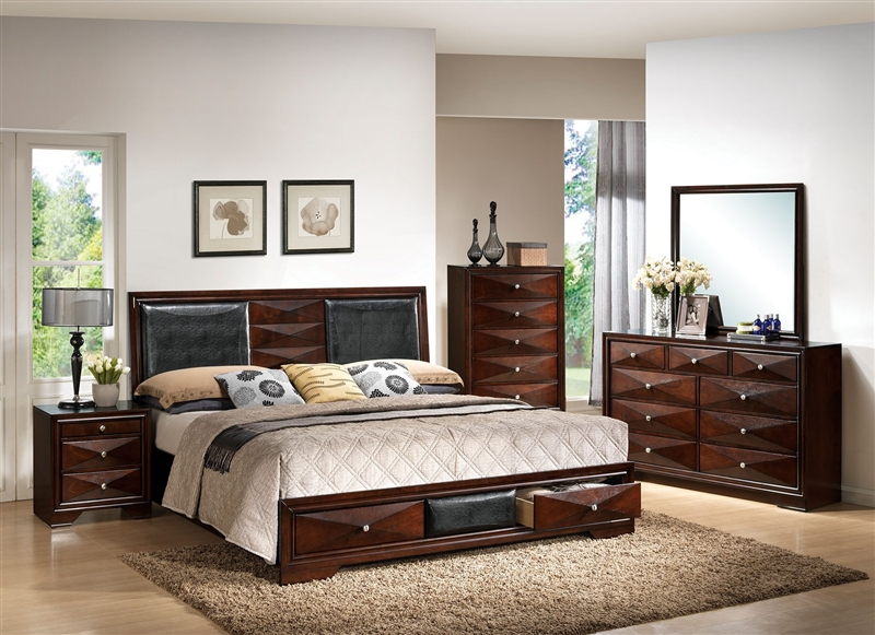 Windsor Storage Bed 6 Piece Bedroom Set In Merlot Finish By Acme 21910