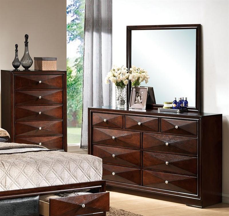 Windsor Platform Bed 6 Piece Bedroom Set In Merlot Finish By Acme 21920