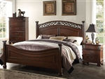 Manfred Low Post Bed in Dark Walnut Finish by Acme - 22770Q