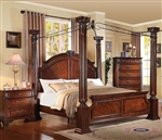 Roman Empire III Canopy Bed in Dark Walnut Finish by Acme - 23340Q