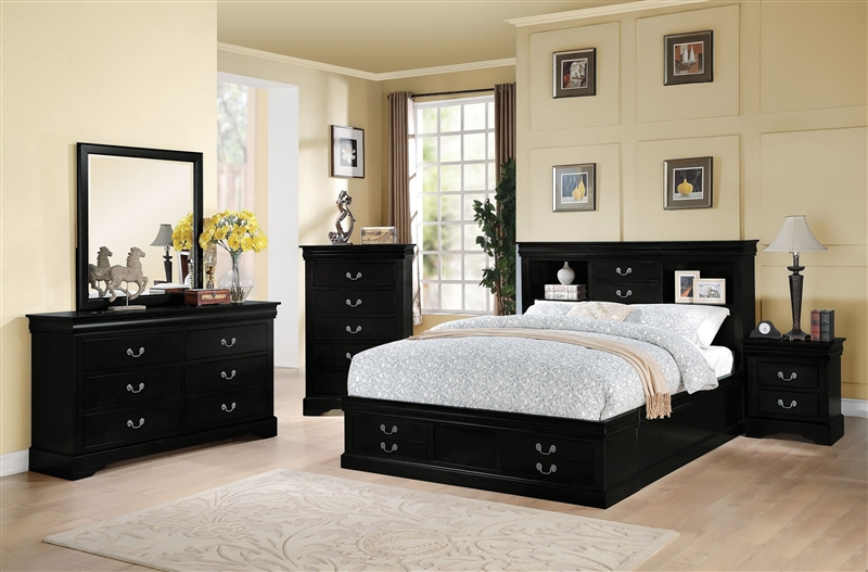 Louis Philippe Storage Bookcase Bed 6 Piece Bedroom Set In Black Finish By Acme 24390