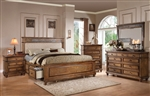 Arielle Storage Upholstered Bed 6 Piece Bedroom Set in Oak Finish by Acme - 24460