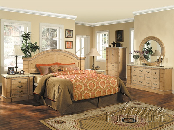 . Marble Top 6 Piece Mystic Bedroom Set in Maple Finish by Acme   4020Q