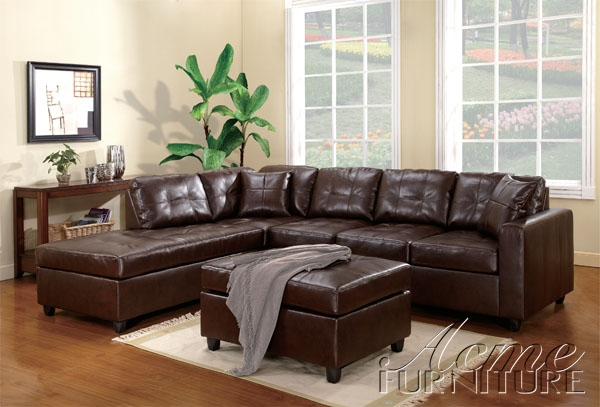 Milano brown bonded leather left facing chaise sectional for Bonded leather sectional sofa with chaise