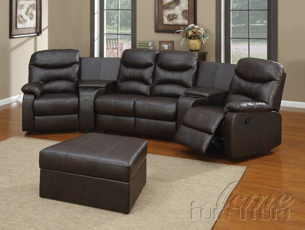 Spokane 5 Piece Home Theater Seating In Black Leather By