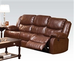 Fullerton Power Reclining Sofa in Brown Bonded Leather by Acme - 50200