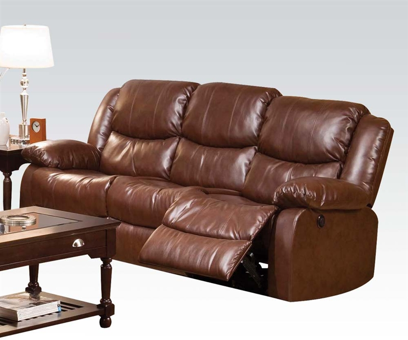 Fullerton Power Reclining Sofa In Brown Bonded Leather By