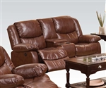 Fullerton Power Reclining Console Loveseat in Brown Bonded Leather by Acme - 50204