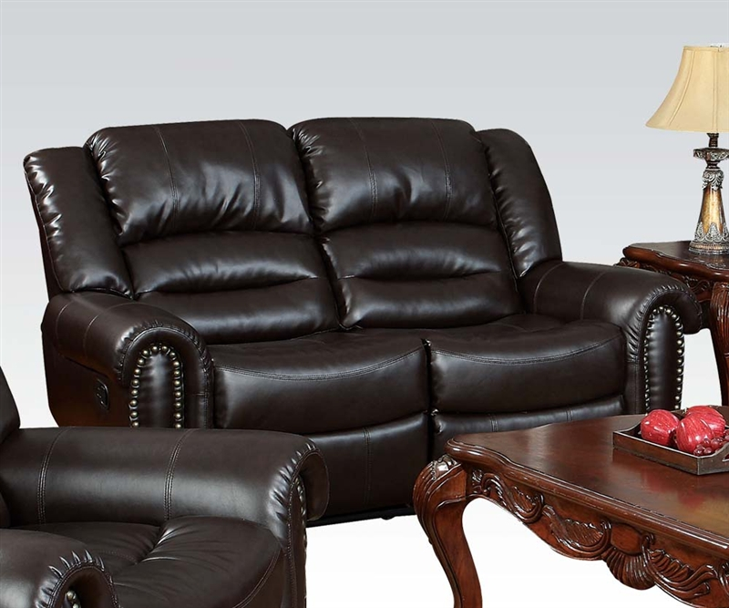 Italian Leather Sofa By Cake: Ralph Reclining Loveseat In Dark Brown Leather By Acme