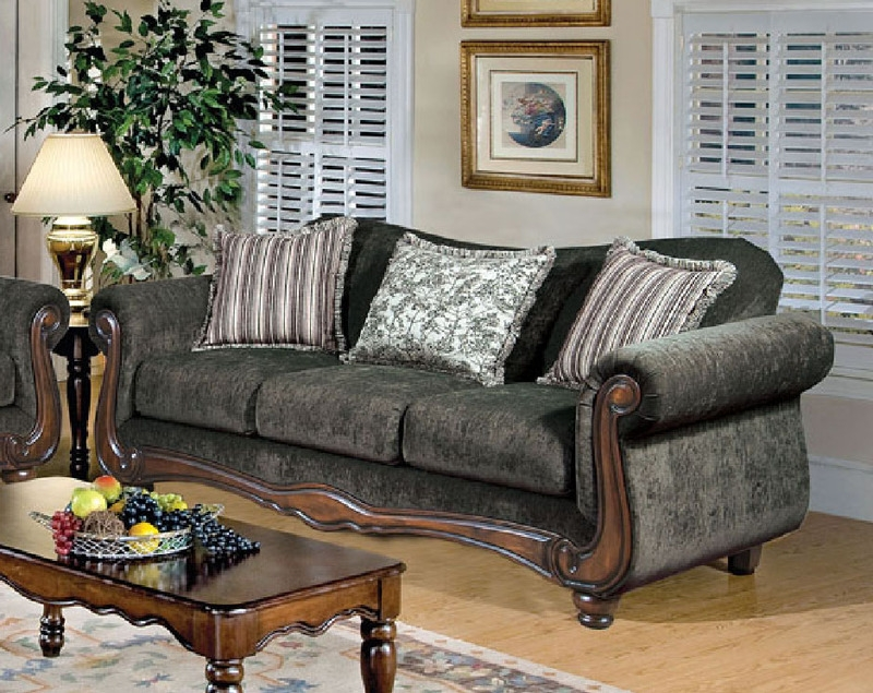 Odysseus Hematite Gray / Tanglewood Brown Fabric Sofa By Serta Upholstery -  50320