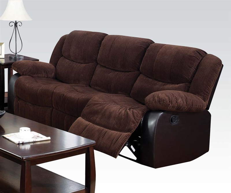 Bernal Two Tone Chocolate Fabric Reclining Sofa By Acme