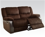 Bernal Two Tone Chocolate Fabric Reclining Loveseat by Acme - 50466