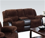 Bernal Two Tone Chocolate Fabric Reclining Console Loveseat by Acme - 50468