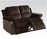 Masaccio Reclining Loveseat in Two Tone Brown Upholstery by Acme - 50471